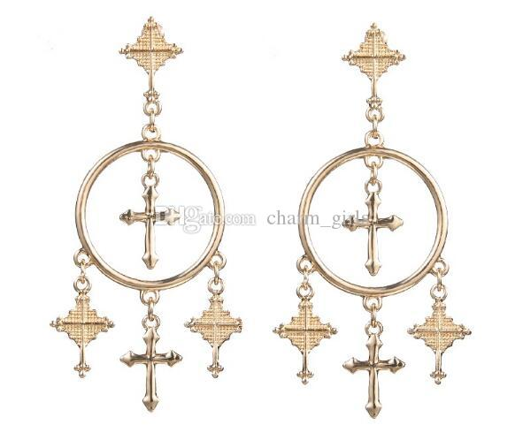 new hot European and American fashion retro exaggerated style earring alloy carved cross fringed earrings stylish classic exquisite
