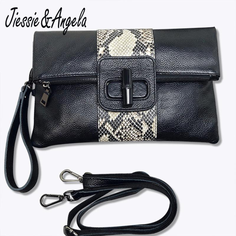409ba860275 Jiessie & Angela Soft Leather Women Clutch Bags Evening Party Handbags  Classic Girl Gift Shoulder Bag Purse Black Solid Designer Purses Satchel  Bags From ...