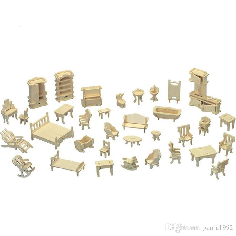Mini Doll House DIY Furniture Models Jigsaw Puzzle Dollhouse Woodcraft Construction Kit Toy Children Gifts 6 87ap C