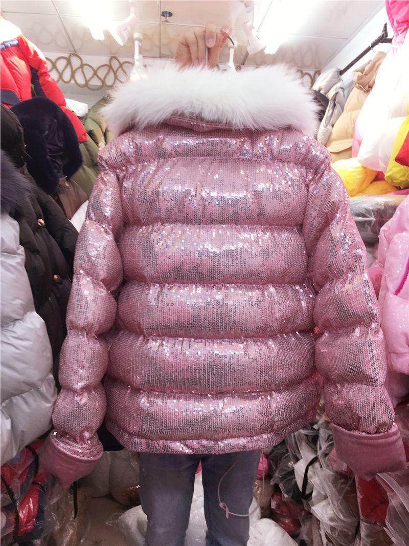 New fashion design women's winter warm faux fur collar long sleeve paillette sequined shinny cotton-padded liner short coat parkas