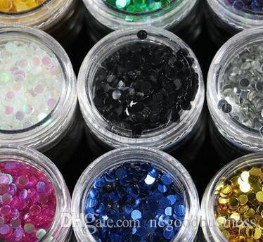 Лазер 12 Цветов Nail Art Блеск Круглые Формы Конфетти Блестки Для Ногтей УФ-Гель Лак Для Ногтей Блеск 3 мм