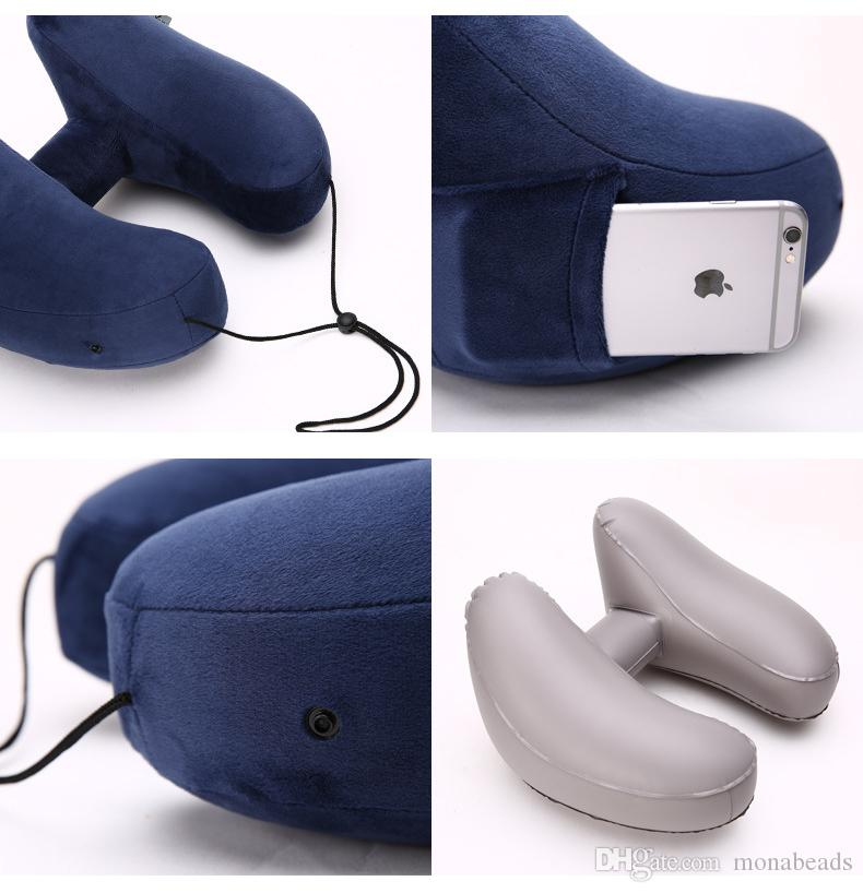 Travel Air Pillow U Shaped Pillow Neck With Cap Folding Inflatable U Shaped Air Cushion for Travel Office Air Neck Pillow