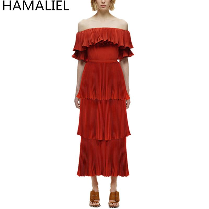 4bc33bf5cc3 2019 HAMALIEL Self Portrait Off Shoulder Women Long Dress 2018 Runway  Chiffon Red Ruffles Cake Maxi Dress Elegant Pleated Split From Lucycloth