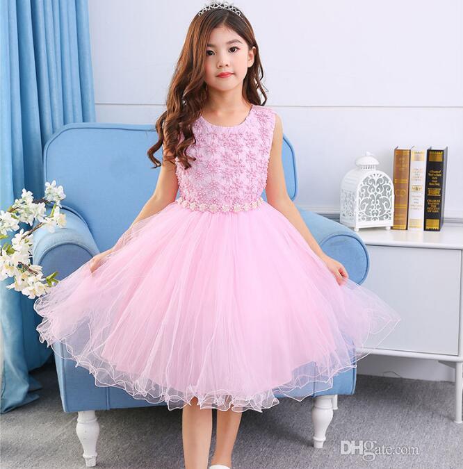 edbc6e92c0c53 Acheter Robes De Princesse Pour Les Petites Filles Perles Perlées Rose  Flower Sash Designs Robes De Mariée Rose Blanc Fit 3 12 Ans Enfants De   21.11 Du Zzj8 ...