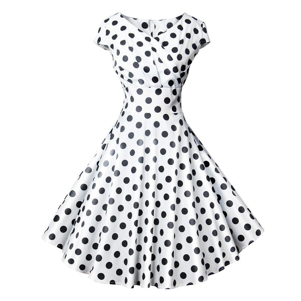 6ff4d4f6e60f Acheter Vintage Noir Robe À Pois Femmes Style Hepburn Blanc Doux Élégant  Imprimé Slim Élégantes Dames Party Robes Balançoire Rockabilly De  34.21 Du  ...