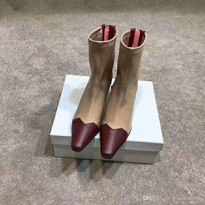 Paris fashion brand designer shoes mixed colors pointed high heels women ankle boots with logo and box size 34 to 40