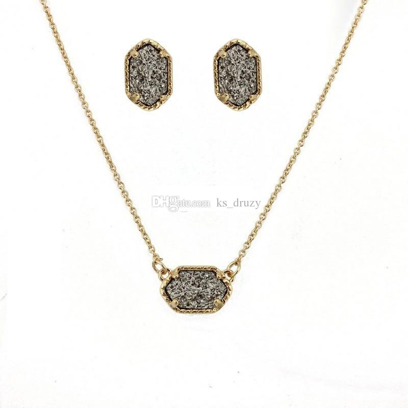 Druzy Drusy Necklace Stud Earrings Jewelry Set Silver Gold Geometry Oval Necklaces Best for Lady New York Brand Jewelry