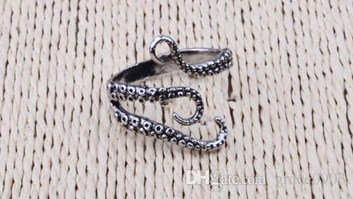 Zinc Alloy Punk Style Squid Octopus Ring 2017 New Design Men's Jewelry Animal Opened Adjustable Finger Ring for Man Free Shipping