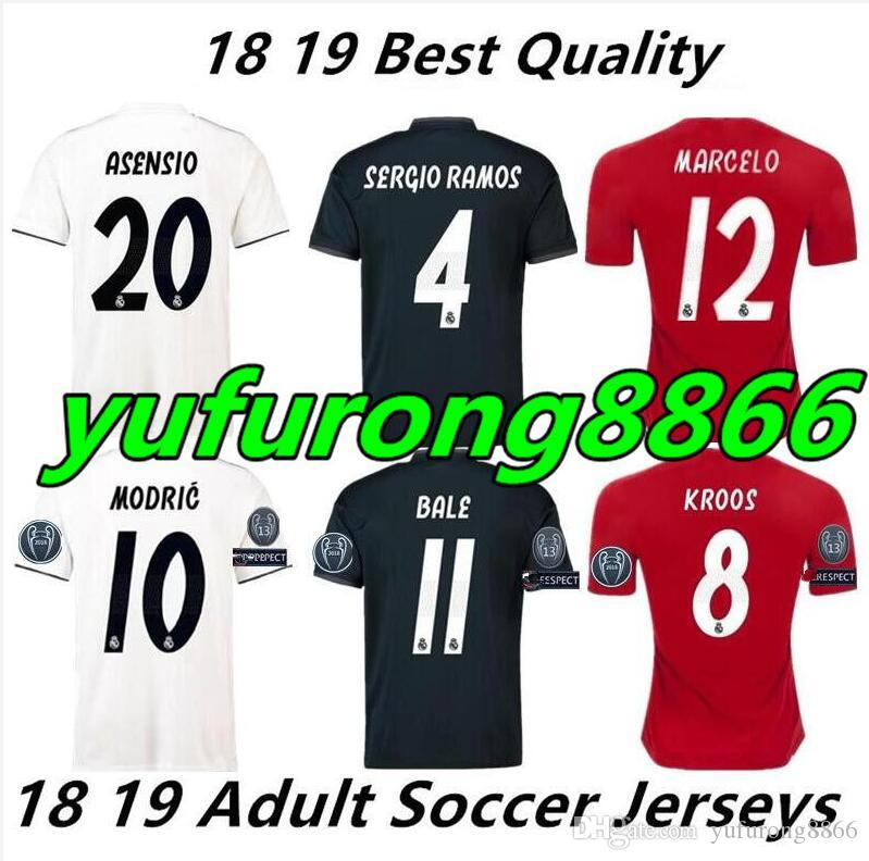 SIZE S 4XL 2019 Real Madrid Soccer Jersey Asensio SERGIO MODRIC RAMOS  MARCELO BALE ISCO Camiseta KROOS 18 19 Football Shirts Adults UK 2019 From  ... 9fcba375ad2d1