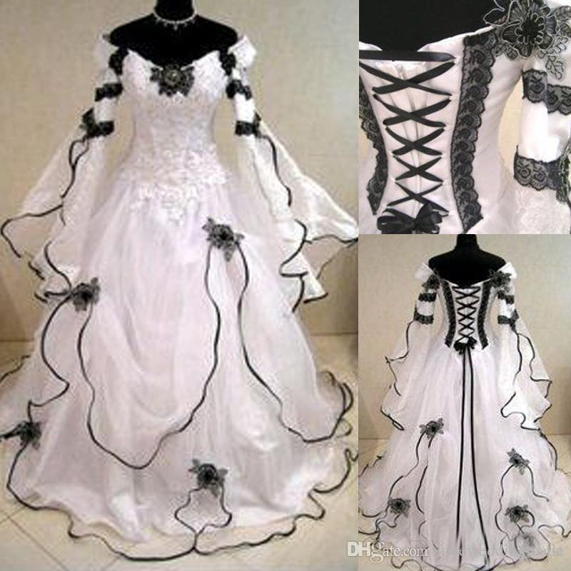 Rea Image White And Black Lace Organza Off Shoulder Victorian Wedding Dresses Cheap Julie Long Sleeves Applique Long Bridal Gowns