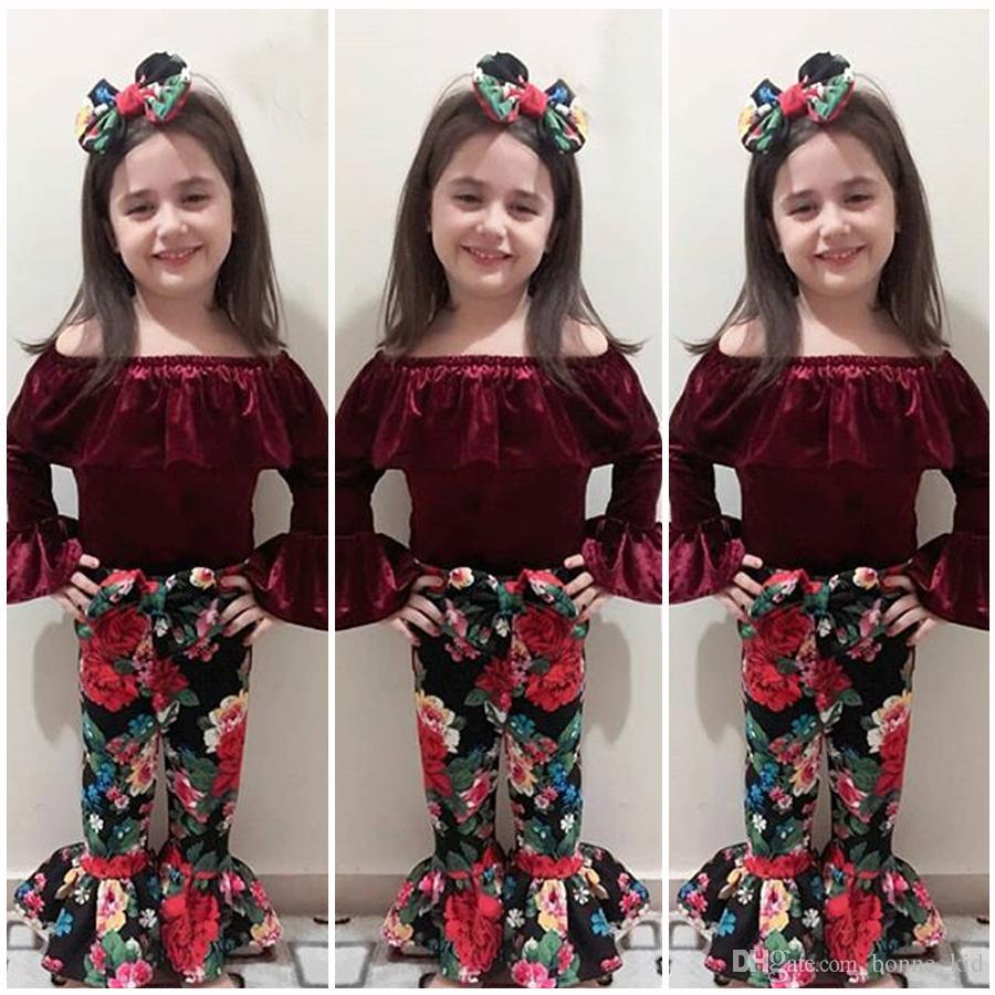 671bb0ee3 2019 New Baby Girl Off Shoulder Velvet Top+Flower Bowknot ...