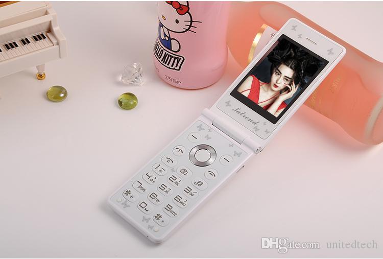 Unlocked Fashion Design Dual Sim Card cellphones Led Light Mp3 MP4 Touch Screen women kids girls lady Flip Cell Mobile Phone