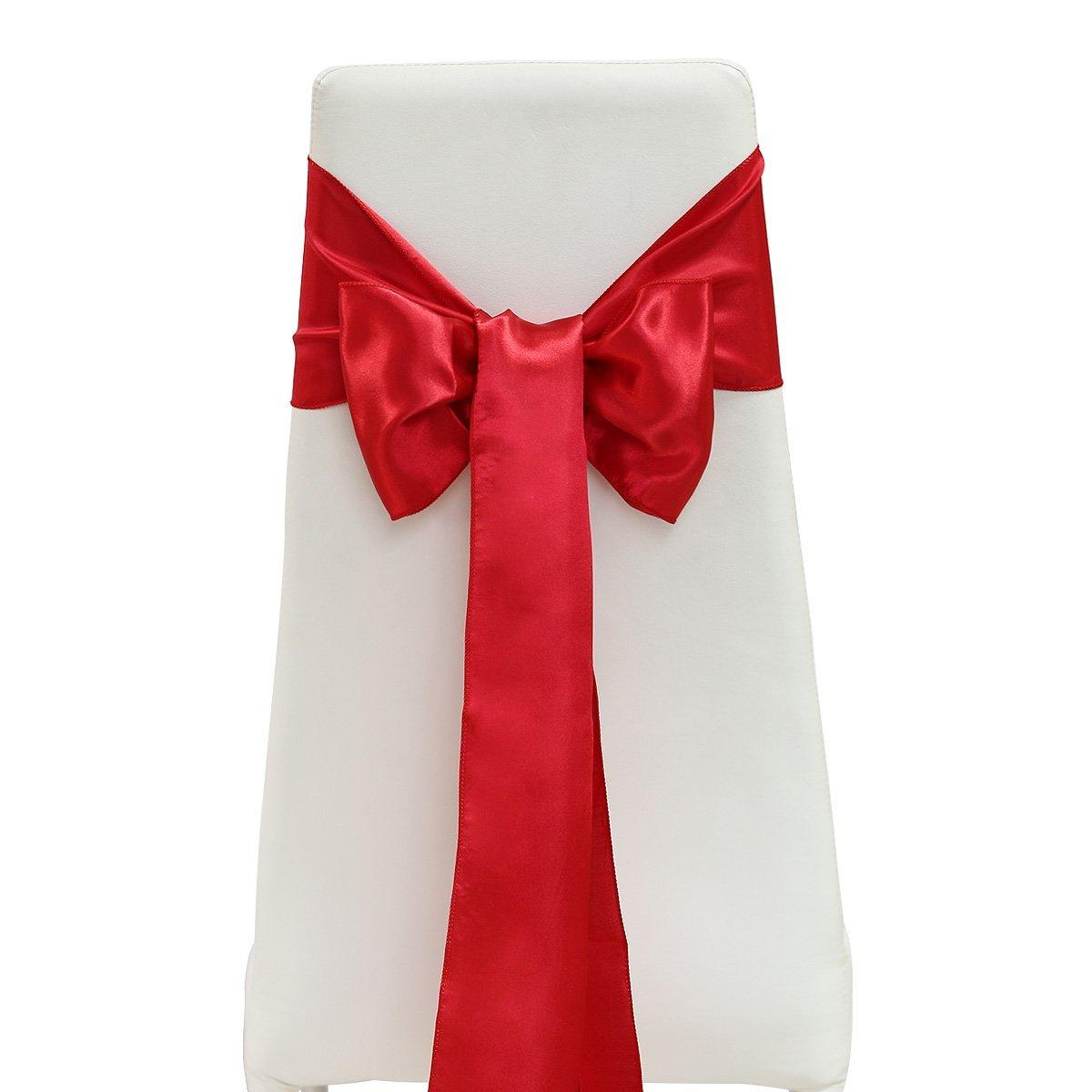 15x275cm Elegant Soft Satin Bowknot Chair Cover Sashes Bows Ribbons for Wedding Banquet Party Decoration Red