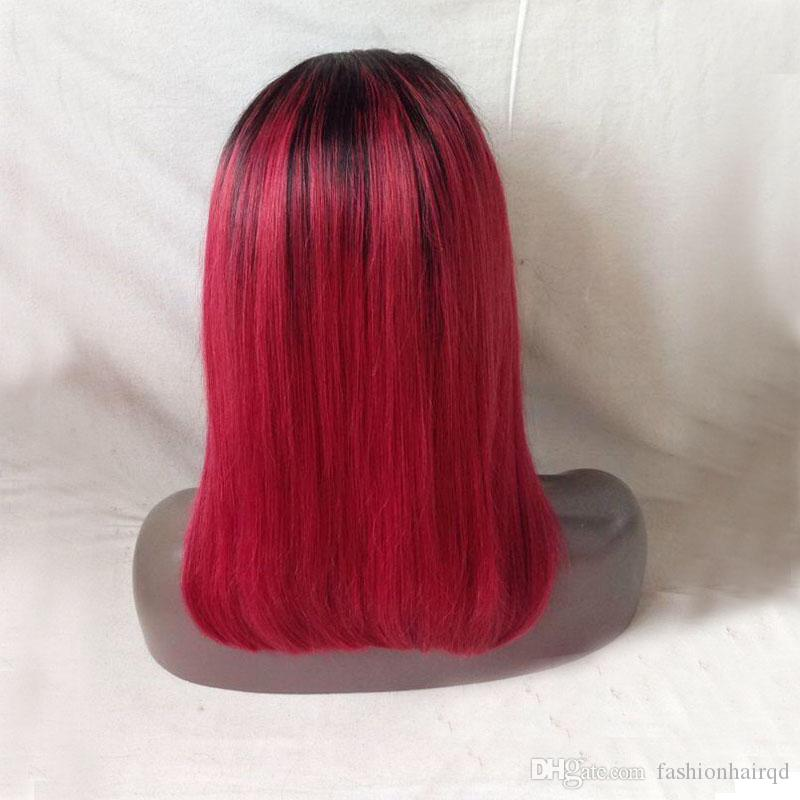 Short BOB Ombre Full Lace Human Hair Wigs For Black Women T1b Red Two Tone Malaysian Virgin Hair Lace Front Wigs Baby Hair