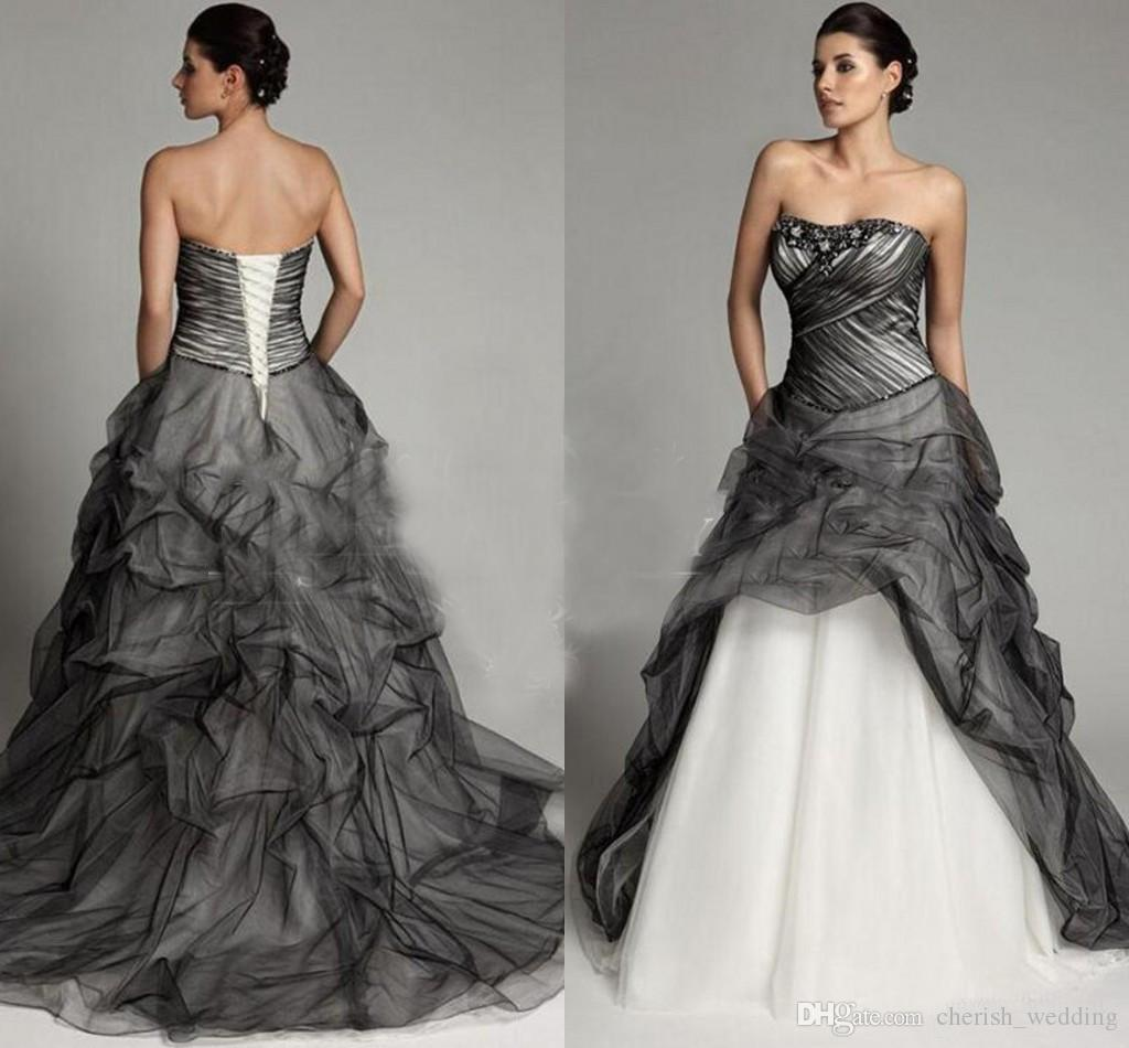 Discount Vintage Black Gothic Wedding Dresses A Line: Discount Black And White A Line Gothic Wedding Dresses