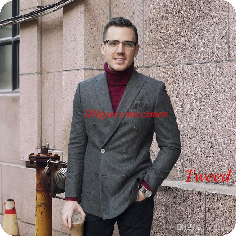258d01708a4 Compre Gris Tweed Clásico Trajes De Los Hombres Para La Boda Prom  Harringbone Doble Botonadura Por Encargo Fumar Chaqueta Hombre Blazer 2  Piezas Ternos ...