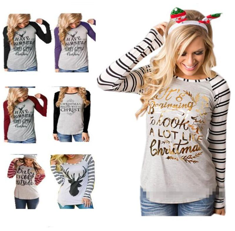 7e6622db53173 2019 Christmas Women T Shirt Plus Size Pullover Hoodie Xmas Elk Letter  Santa Claus Print Striped Sweatshirt Blouse Skirts 21 Styles Fashion From  ...