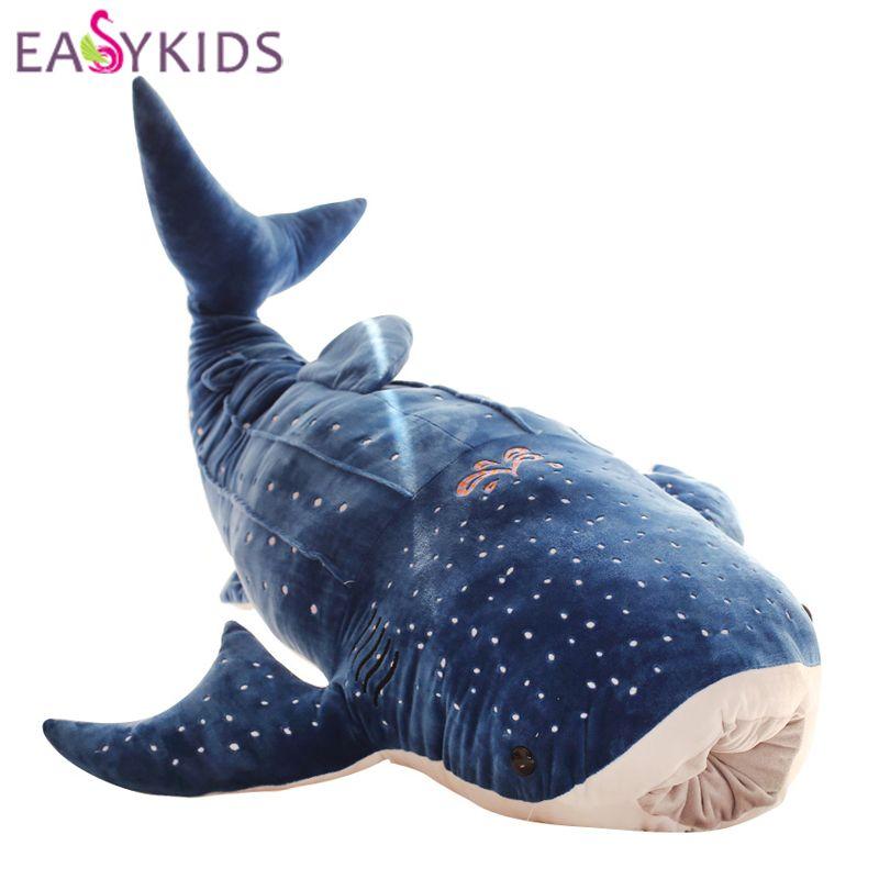 2018 50 100cm lovely blue shark plush toys big fish pillow cushion