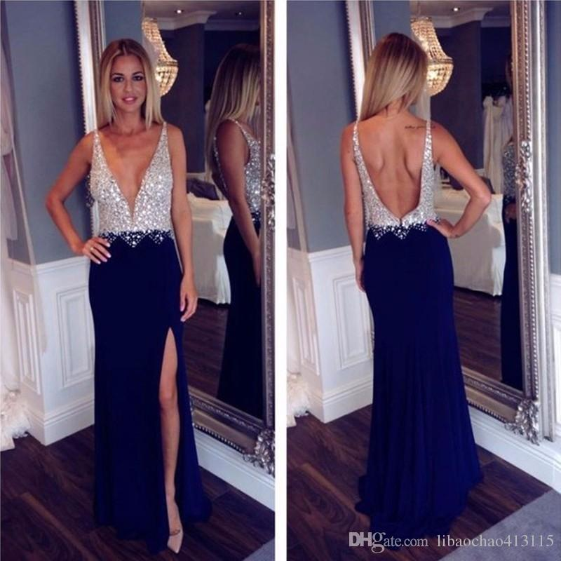 d2c7d1986a Women Navy Blue Long Prom Dresses 2018 Backless Beaded Low Chest Sexy Dress  High Slit Women Pageant Dress For Formal Evening Party Gowns