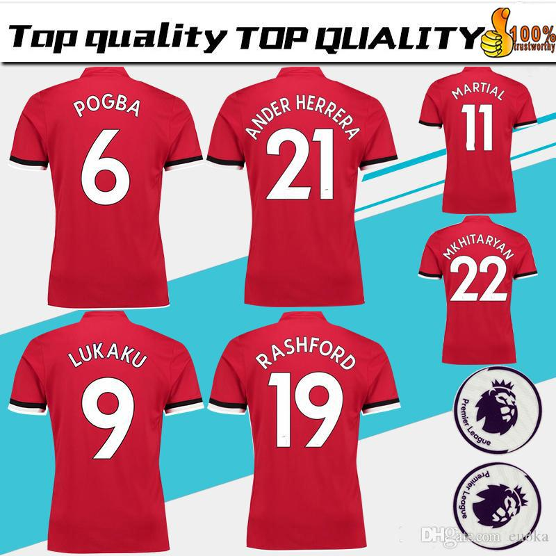 54fba85b3757 POGBA Home Red Soccer Jersey 17 18 Have Premier League Patches ...