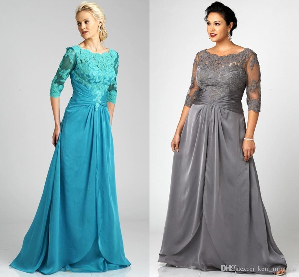 19eb765cb9d Popular Style Plus Size Gray Mother Of The Bride Dresses 3 4 Sleeve Scoop  Neck Lace Chiffon Floor Length Formal Gowns Custom DH329 Joan Joan Rivers  Joan ...