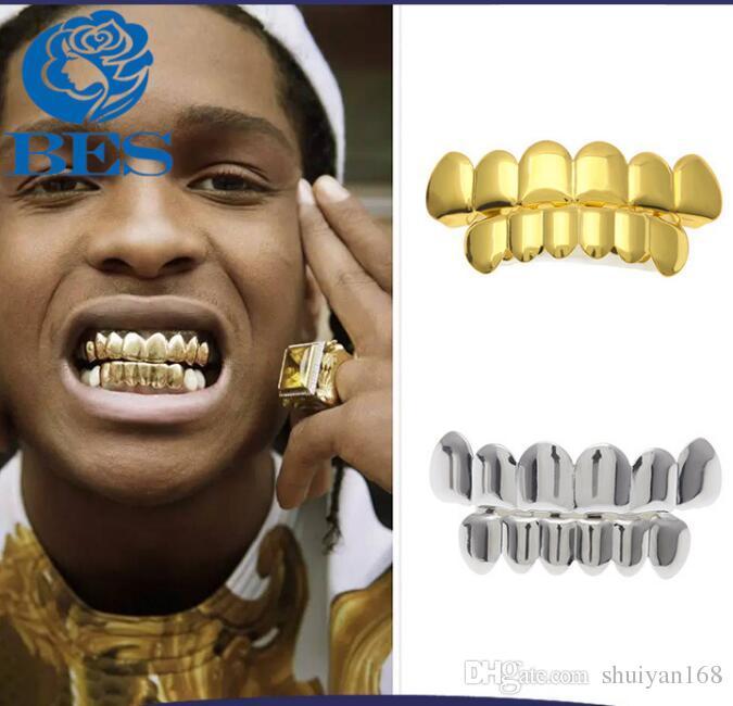 Hip Hop personnalité Fangs dents Or Argent Or Rose dents Grillz or False Teeth Sets Vampire Grills Pour les femmes, bijoux hommes Grills dentaires
