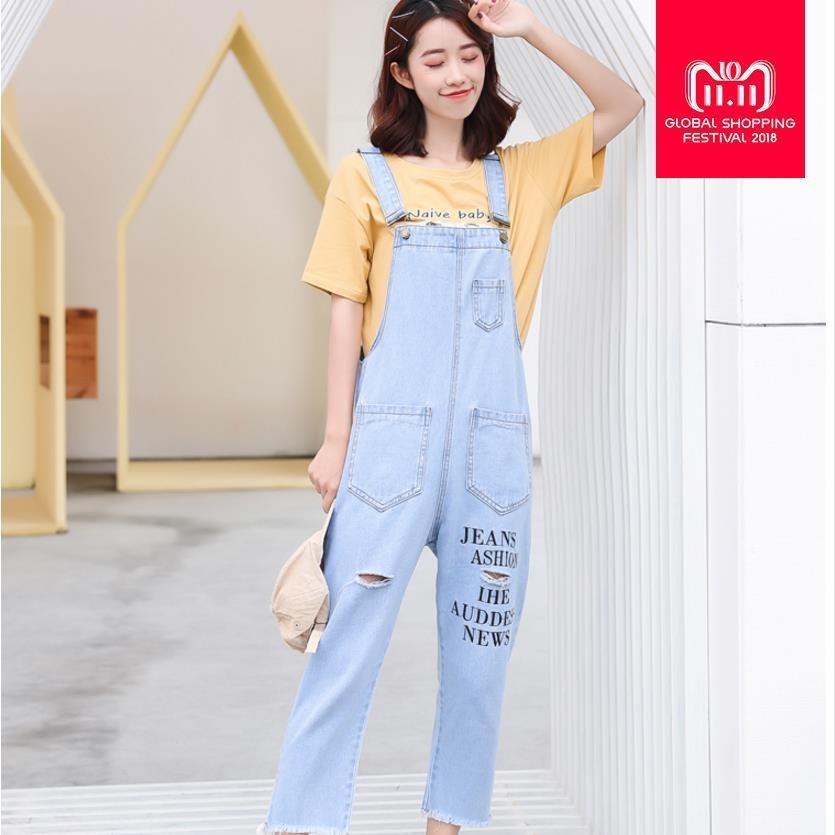Spring Autumn New Fashion Letter Print Women Denim Jumpsuits Loose ... 740e35f2a
