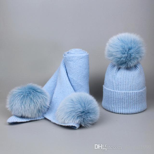 91383e803 2019 Children Cashmere Fleece 16cm Real Fur Ball Cap Pom Poms Baby Kids  Winter Hat Scarf Set Knitted Beanies Hats Thick Scarves Suit From  Zoedai1991, ...