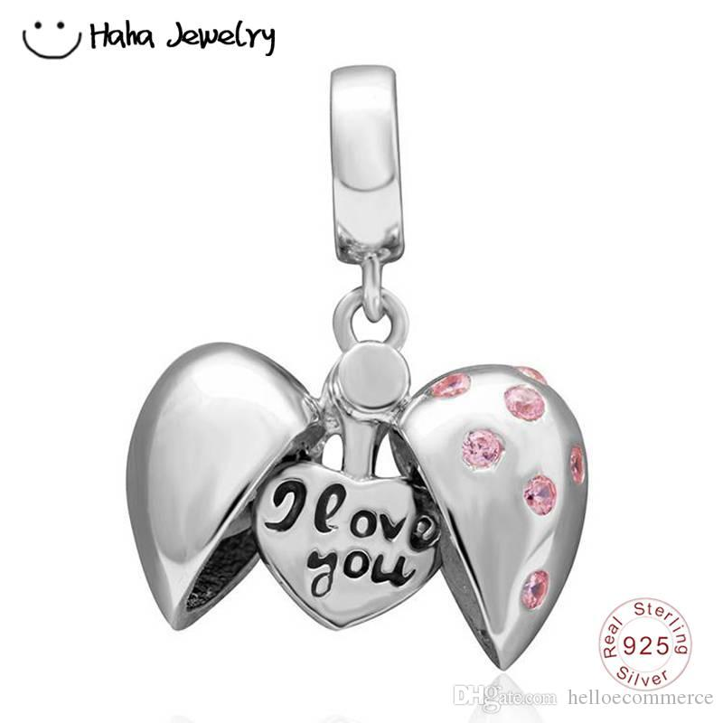376fd8f75 Haha Jewelry I Love You Heart Pendant Charm Authentic 925 Sterling Silver  Bead Valentine's Day Gift Fit Pandora Charms Bracelet Making