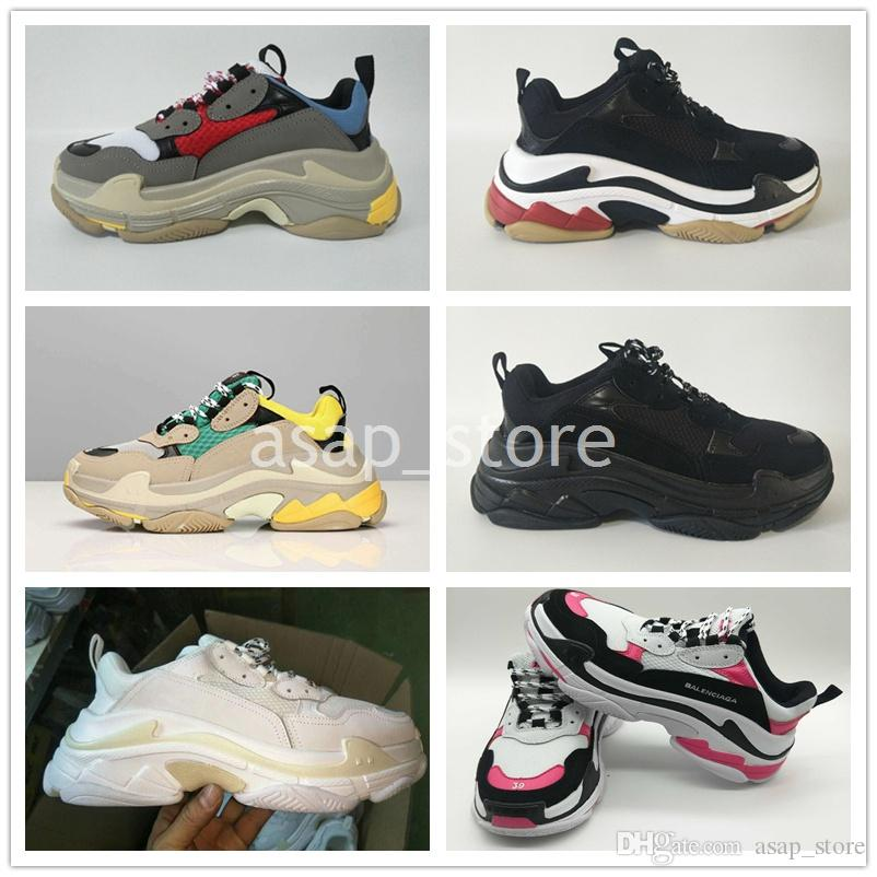 42fce7c89748d Hot Sale 2018 Fashion Paris 17FW Triple S Sneaker Triple S Casual Luxury Dad  Shoes For Men Women Beige Black Sports Tennis Running Shoe Sports Shoes For  ...