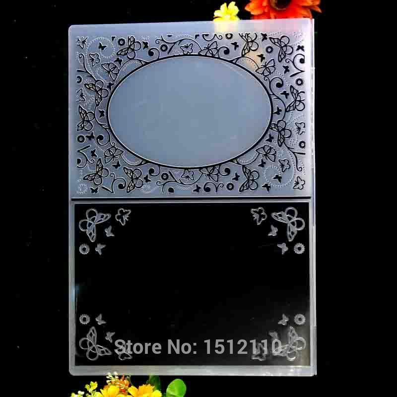 A4 Size Flowers Butterfly Frame Plastic Embossing Folder For