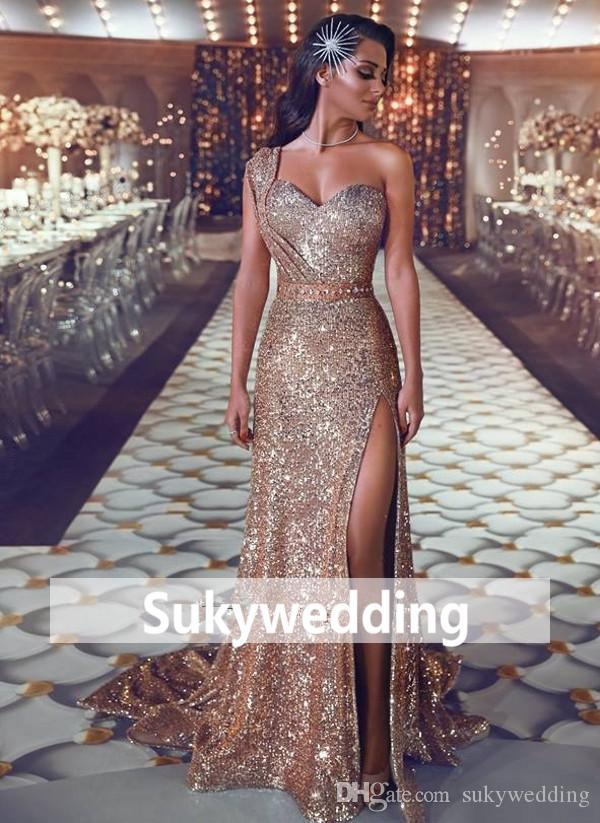 4246c4f5f6c4f Shiny Gold Sequins Prom Dresses One Shoulder Beading Evening Gowns Side  Slit Special Occasion Dresses New Elegant Evening Formal Dresses Occasion  Wear ...