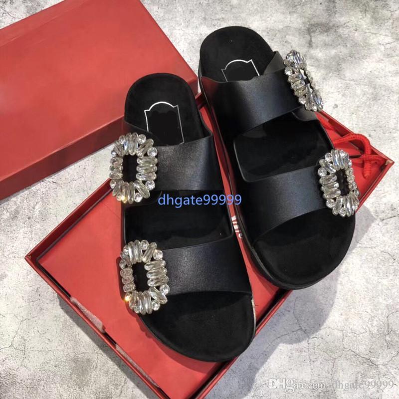 18SS argent, noir, rouge, blanc sandales à fond THICK avec des pantoufles de boucles de cristal POUR FEMMES AVEC BOX 2018 pantoufles