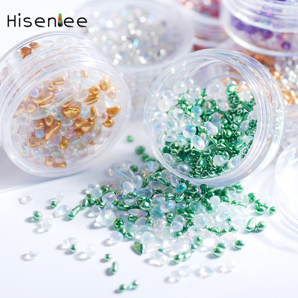 Mermaid Crystal Chameleon Stone 3D Nail Rhinestone Small Irregular Beads 1 Box 9g Manicure Nail Art Decoration Accessories Tool