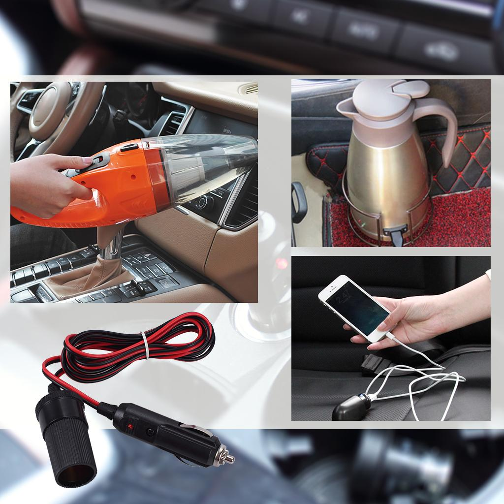 Car Cigarette Lighter Extension Cable With Indicator light 12V/24V Car Charger Extend Cord Red And Black Line-6.56ft