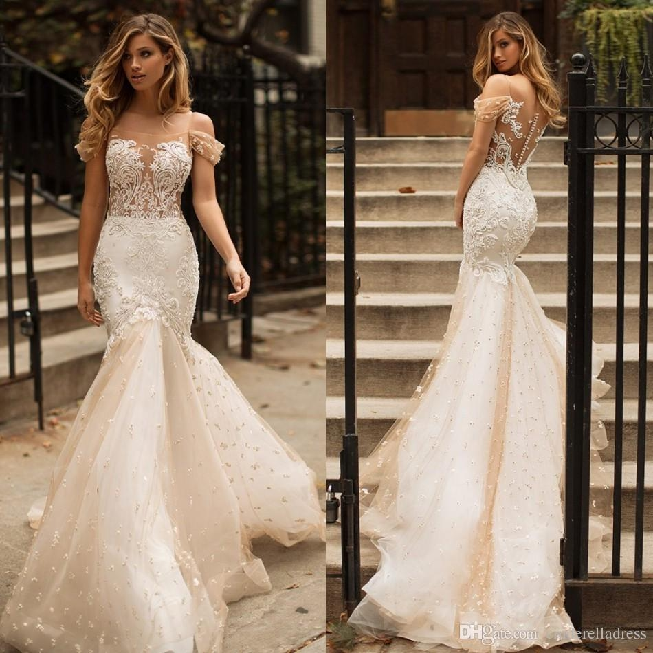 Designer Milla Nova 2018 Lace Wedding Dresses Vintage Mermaid Champagne Bridal Gowns Dubai Arabic Off The Shoulder Beading Wedding Gowns