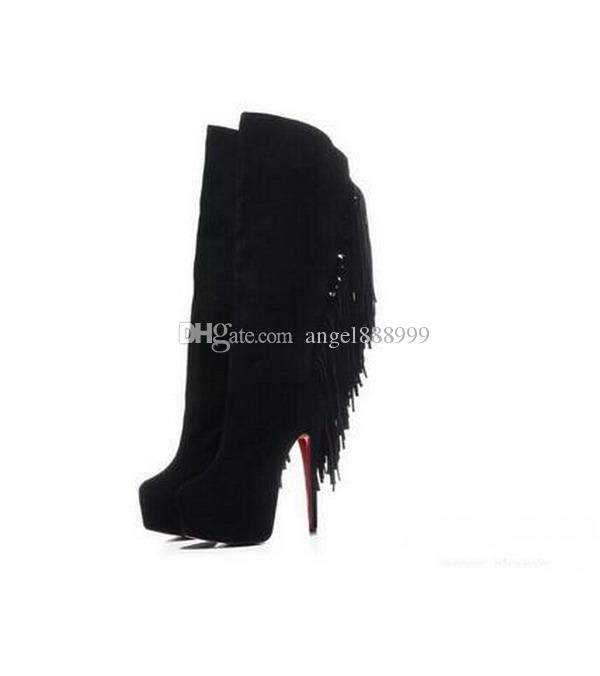 f0cc826d506 Women's 16cm High Heels Black/Red/Brown Suede With Tassel New Fashion  Knee-High Red Bottom Boots, Ladies Luxury Brand Winter Platform Shoes