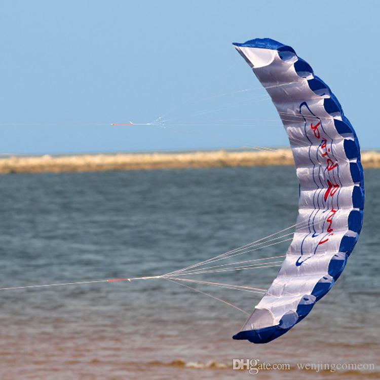 Fun Rainbow Double Line Kite Outdoor 30m Due linee Sport controllato Beach Flying Kite con maniglia bambini Adulti facile da volare