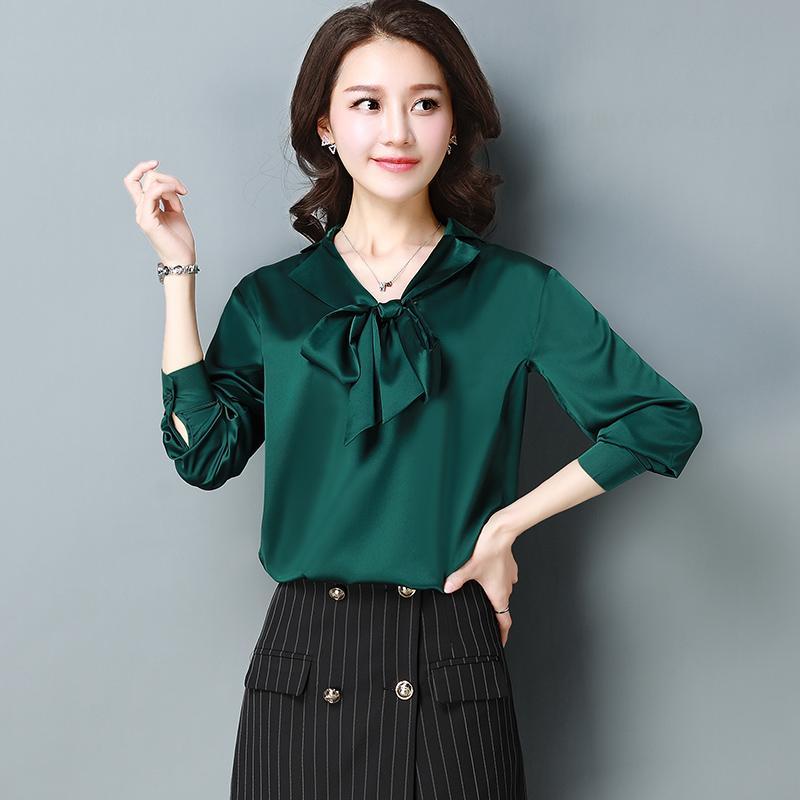 870bbed42b 2018 Women Spring Long Sleeve silk poplin Shirts Ladies Work Wear Office  Blouses solid Women Tops