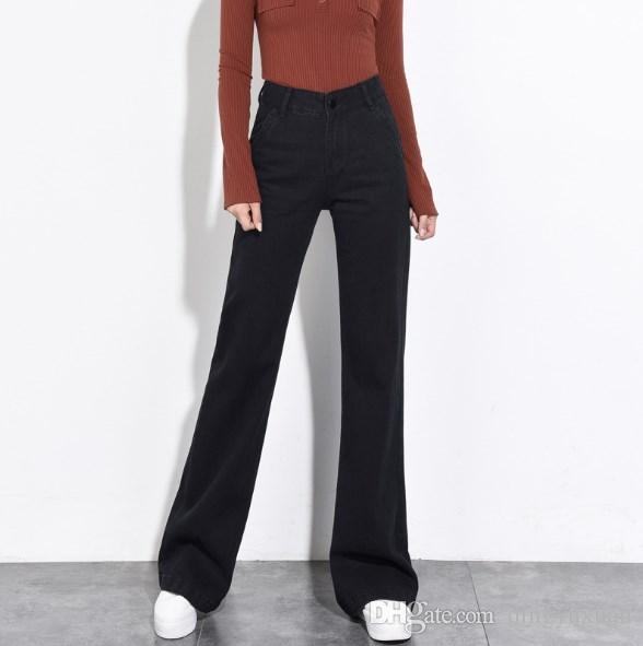 2a85e7a7aab35b 2019 Women Wide Leg Loose Black Jeans High Waist Casual Denim Pants Plus  Size 4XL 5XL 6XL Womens High Waisted Bell Bottom Trouser From Dingyuxuan,  ...