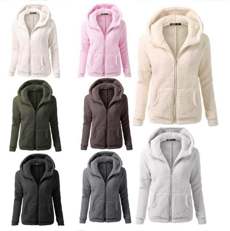 6baa7306d 2019 Women Sherpa Hoodies Long Sleeve Soft Fleece Sweatshirt Winter Warm Cardigan  Zipper Hooded Coat Outwear Sherpa Sweaters Fashion Jacket 4XL From ...