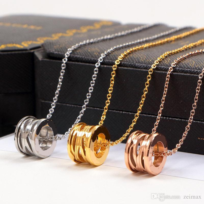 Cero collar de oro rosa Collar de plata para mujeres Collar de traje vintage con conjunto de caja original