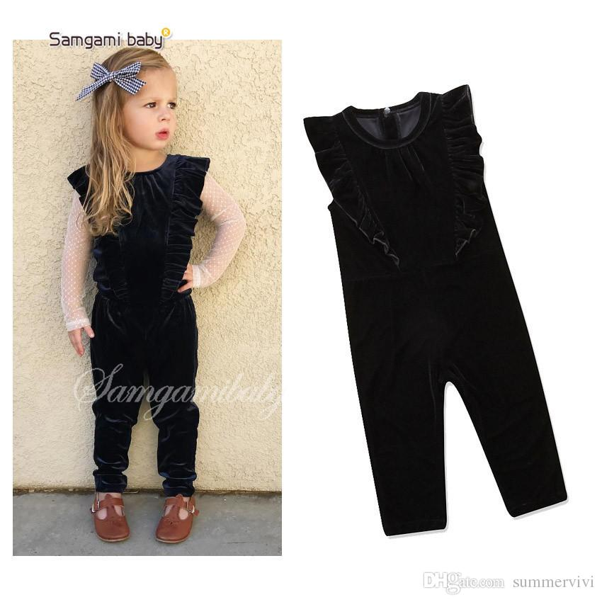 15ed62c429e9 2019 INS Baby Kids Pleuche Jumpsuits Fashion New Girls Falbala Fly Sleeve  One Piece Rompers Kids Velvet Overall Kids Designer Clothes F0893 From  Summervivi