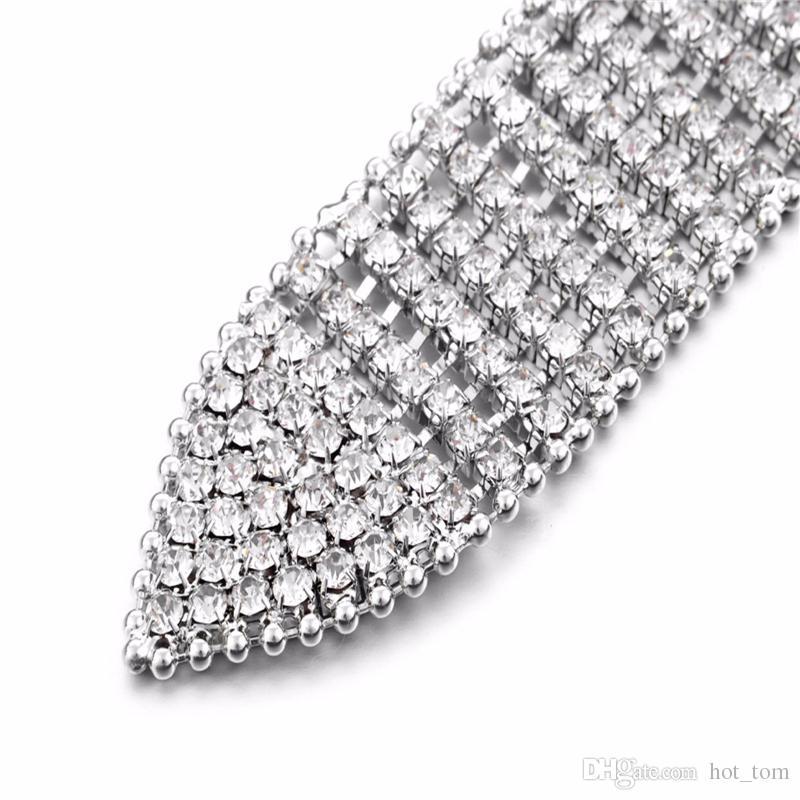 Cadena de metal unisex elásticos Correas Mujeres Diamante de cadena cristalina de la correa de 8 filas del Rhinestone Bling ancho femenino de la Cintura Cinturón
