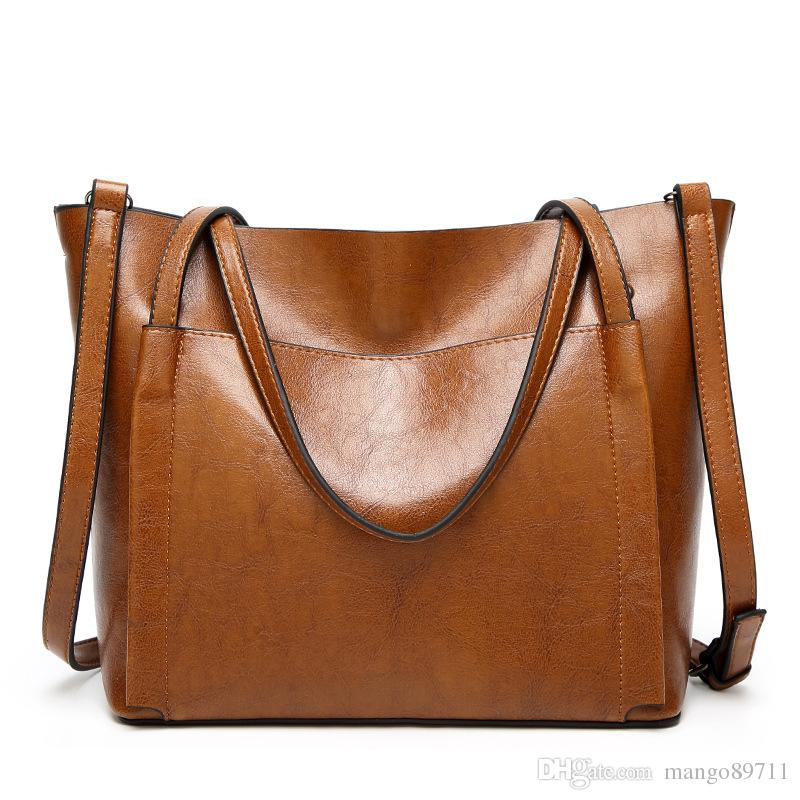 db8d856a9b75 Women Shoulder Bags Fashion ladies Handbags Oil Wax Leather Large Capacity  Tote Bag Casual Pu Leather Hand bag