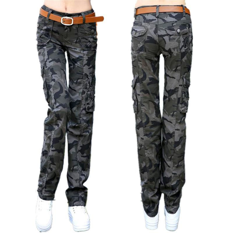 a5e4049359b 2019 Khaki Cargo Pants Women Plus Size Cotton Camouflage Pants Fashion  Ladies Casual Loose Straight Black Trousers Trousers For Women From  Michalle