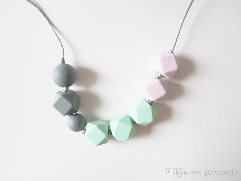 Geometric Hexagon Silicone Teething Necklace Baby Teether BPA Free Safe Silicone Chew Beads Necklace Chewelry Mom Nursing Jewelry Baby Gift