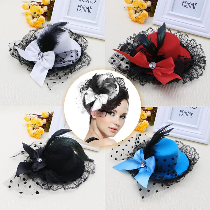 Bow Hair Clip Lace Feather Mini Top Hat Fascinator Burlesque Party Fancy  Dress Floppy Hat Kangol Hats From Naixing a275651f4cc