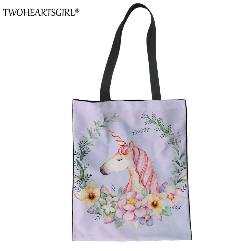 13b948211b365 TWOHEARTSGIRL Unicorn Handbag For Women Female Large Capacity Canvas Handbags  Shopping Tote Bag Ladies Travel Function Beach Bag Duffel Bags Ladies Purse  ...