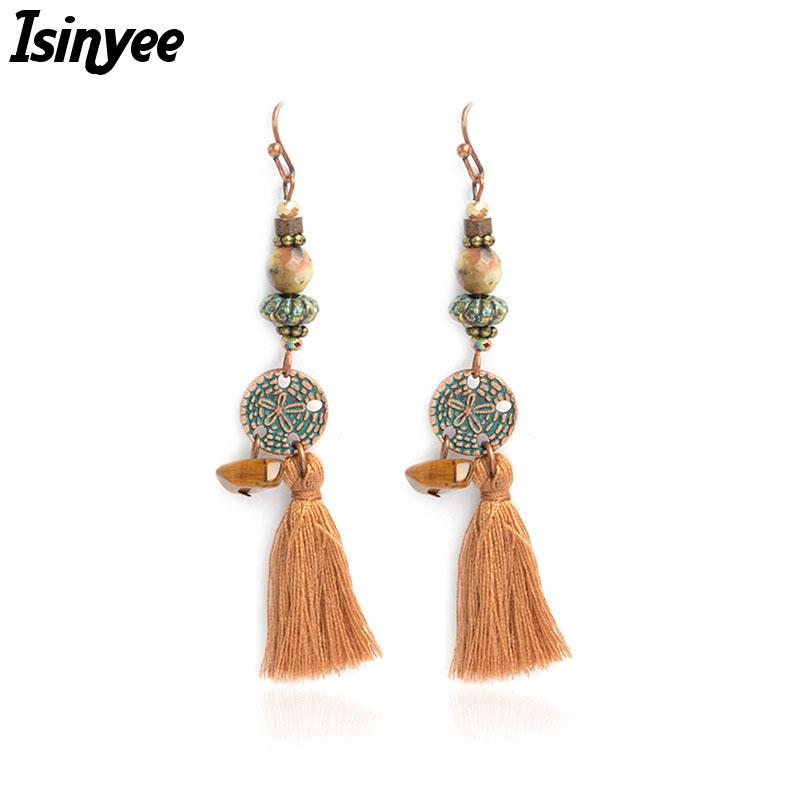 b20a5aef1 2019 ISINYEE Fashion Tassel Dangle Earrings For Women 2018 Vintage Gold  Ethnic Hanging Ear Flower Wooden Beads Accessories Jewelry From  Qiugaoliang, ...